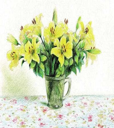 黄色百合花怎么画?玻璃瓶中的百合花画法是什么?