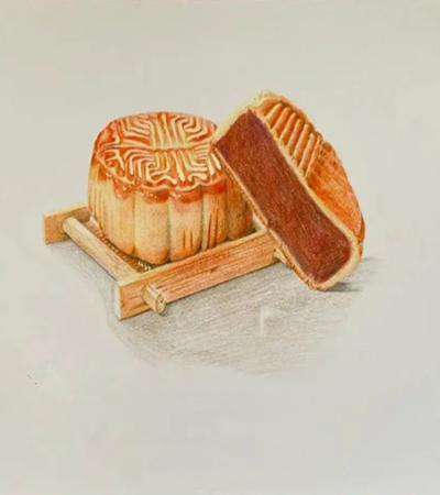 中秋月饼怎么画?详细的彩铅步骤有哪些?