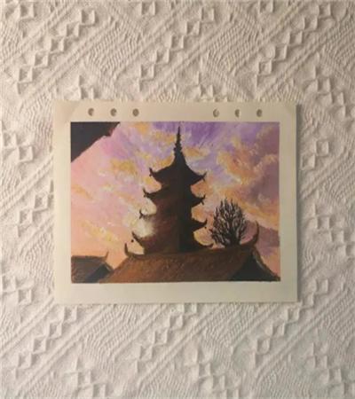 夕阳下的塔怎么画?具体的绘画步骤是什么?