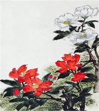 红色山茶花怎么画?如何画花飞红雨?