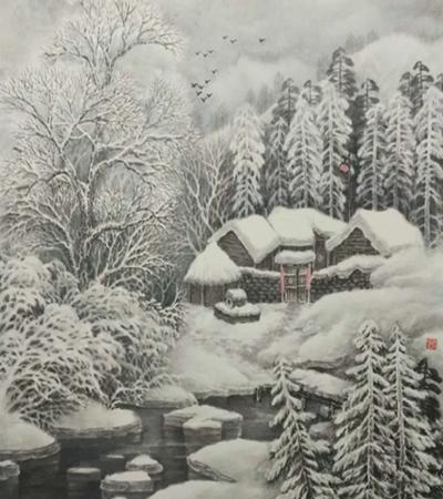 关东正月景色怎么画?雪景的国画步骤有哪些?