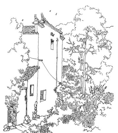 乡村房子怎么画?乡村风景钢笔画步骤有几步?