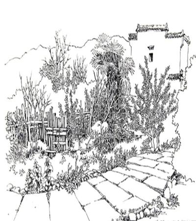 石板路边的篱笆怎么画?如何给作品搭配?