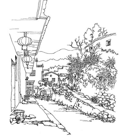 房子中间的上坡路怎么画?详细的绘画步骤是什么?