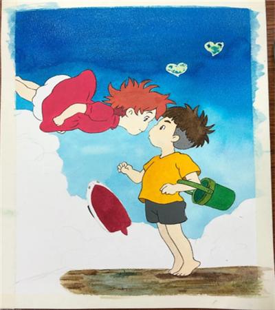 悬崖上的金鱼姬怎么画?波妞和宗介的漫画步骤有哪些?