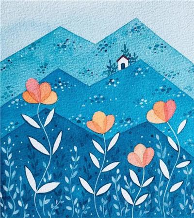 蓝山儿童画怎么画?如何用水彩平涂?