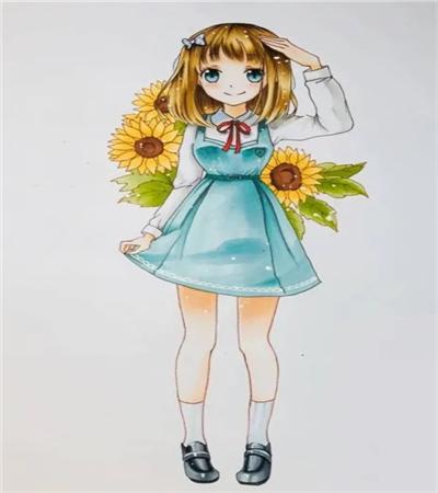 背着向日葵的女孩怎么画?具体的漫画教程是什么?