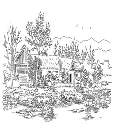 池塘边的茅屋怎么画?茅屋的钢笔画步骤有哪些?