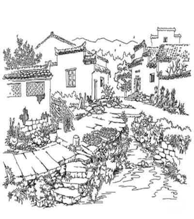 小溪旁的乡村景色怎么画?钢笔绘画步骤有哪些?