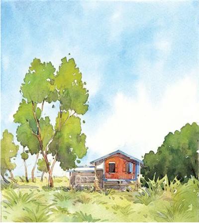 植物和木屋怎么画?风景水彩画的步骤有哪些?