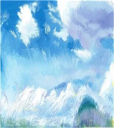 蓝天白云下的草原怎么画?水粉风景的步骤有几步?