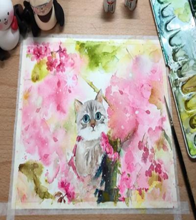 桃花下的小猫咪怎么画?喵星人的水彩绘画步骤有几步?