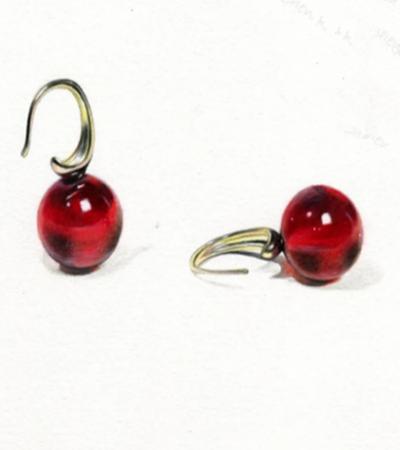 红色小耳环怎么画?复古耳坠的图文绘画步骤有哪些?