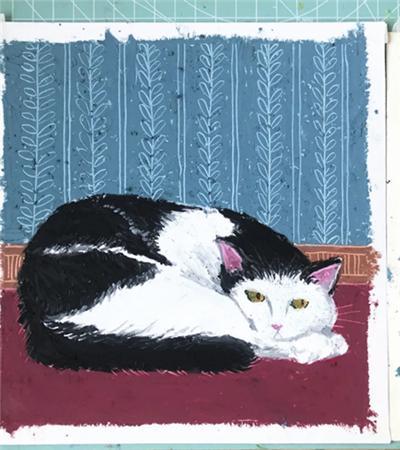 黑色猫咪怎么画?猫咪的油画步骤有哪些?