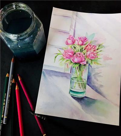玻璃瓶中的玫瑰花怎么画?粉玫瑰的绘画步骤有哪些?