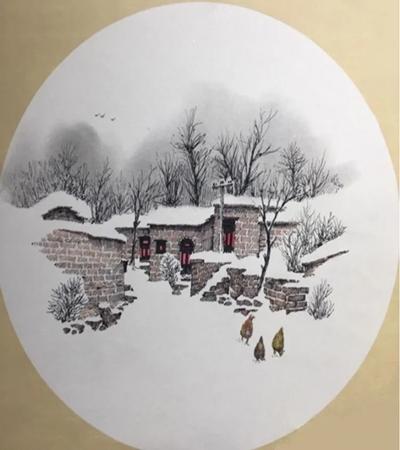 古村落雪景色怎么画?雪景有哪些绘画步骤?