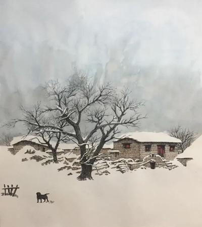 乡村雪景怎么画?有哪些钢笔绘画步骤?