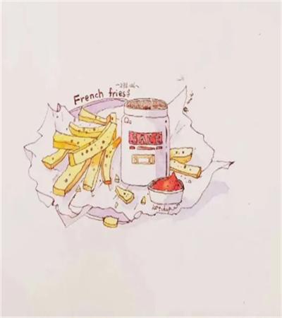 薯条怎么画?薯条的钢笔淡彩步骤有几步?