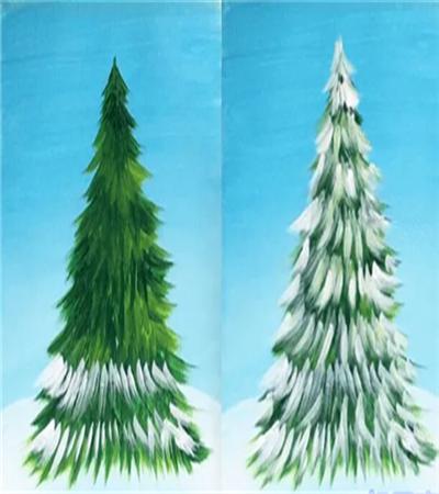 圣诞树怎么画?如何用丙烯画画圣诞树?