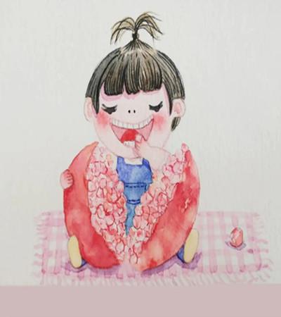 石榴小男孩怎么画?如何创作简单的插画?