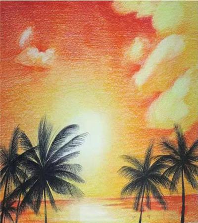 椰子树怎么画?夕阳风景儿童画教程是什么?