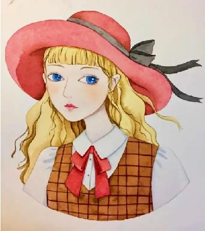 戴帽子的女孩怎么画?美女的水彩教程分享