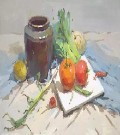 蔬菜静物怎么画?蓝色调水粉过程是什么?