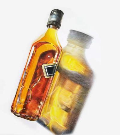 酒瓶怎么画?如何大面积刻画投影?