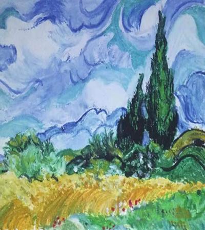 麦田怎么画?柏树的油画画法是什么?