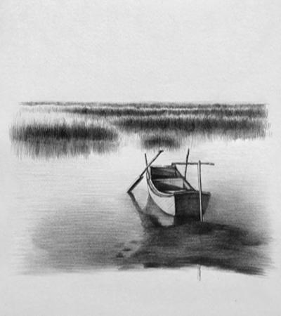 江上小舟怎么画?简单的素描画法是什么?