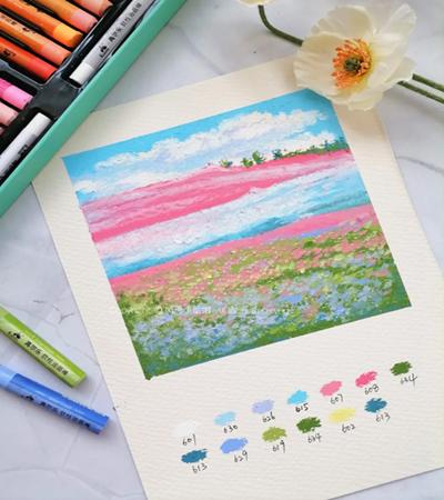 春天的花田怎么画?详细的油画棒教程是什么?
