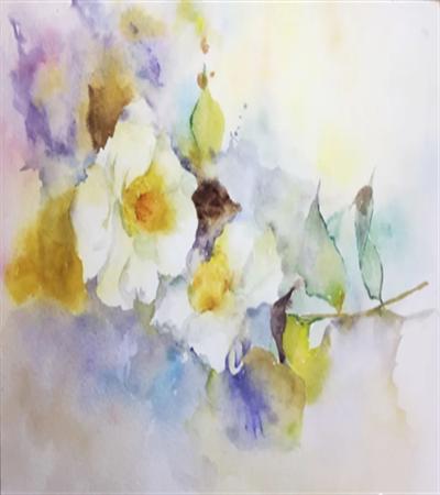 白色茶花怎么画?茶花的水彩步骤有几步?