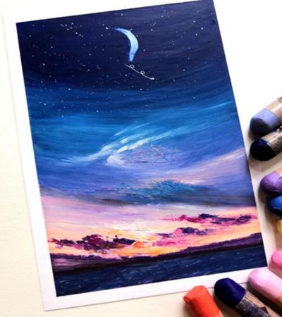 炫彩天空怎么画?如何用油画棒绘画?