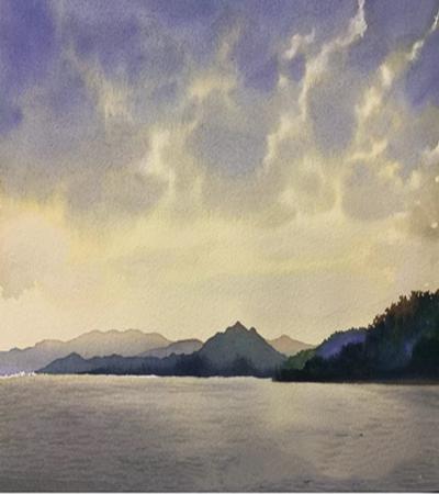 远山湖水怎么画?四步教你画一幅水彩风景画