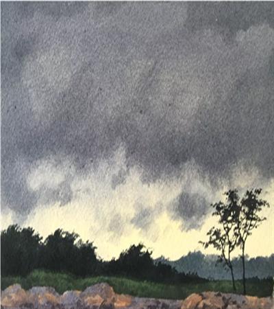 阴沉的天空怎么画?如何用湿画法画云?