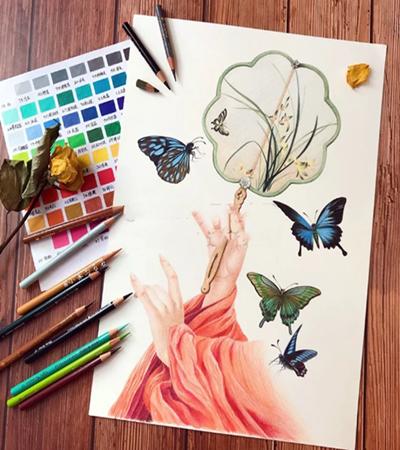 素手执扇怎么画?蝴蝶的彩铅教程是什么?