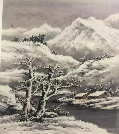 群山积雪怎么画?三步教你画山水国画