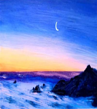 傍晚的天空和海怎么画?有哪些油画步骤?
