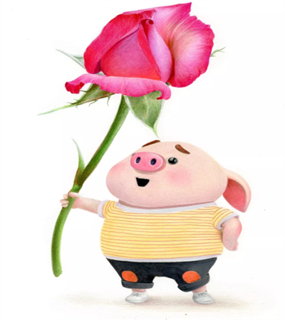 手握玫瑰的猪怎么画?详细的彩铅画法是什么?