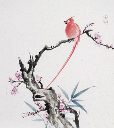桃枝上的绶带鸟怎么画?有哪些国画步骤?