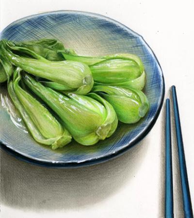 清炒小白菜怎么画?详细的教程分享