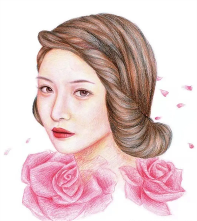 玫瑰花女人怎么画?详细的步骤有几步?