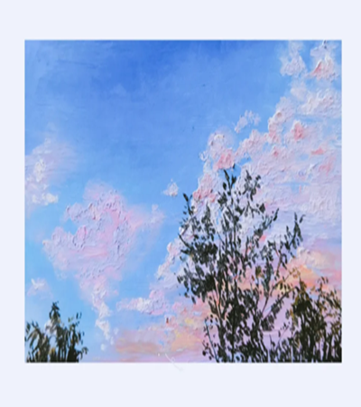 夏季天空怎么画?怎么用油画棒画蓝天白云?