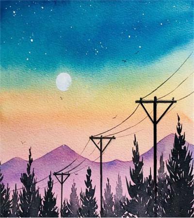 夕阳下的电线杆怎么画?用到哪些水彩技巧?