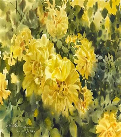 黄月季花丛怎么画?具体的步骤有几步?