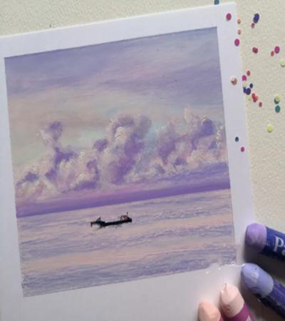 浪漫紫大海怎么画?如何让海面更灵动?