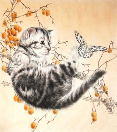 猫扑蝶怎么画?工笔绘画流程是什么?