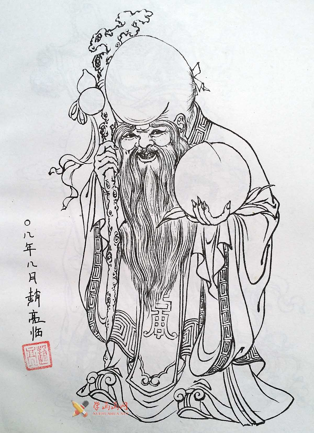 老寿星素描图_白描寿星图片一幅(高清图片)-露西学画画