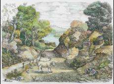 《龙井山村风光》淡彩钢笔画欣赏