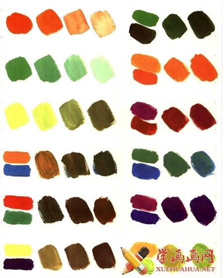 水粉颜料调色表图